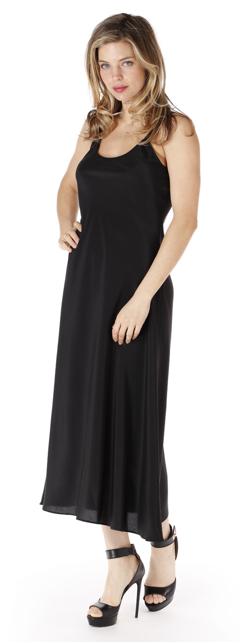 Wide Strap Crepe Gown