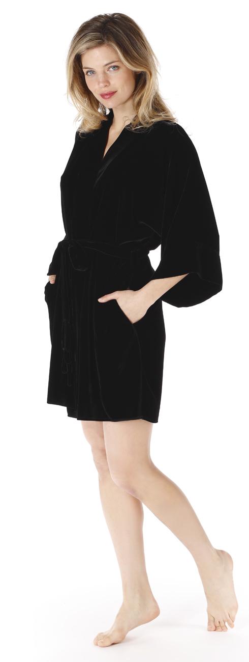 Short Black Velvet Robe
